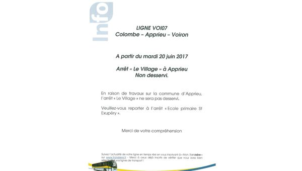 Information arrêt de bus Le Village